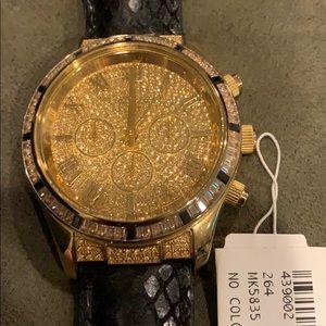Michael Kors oversized Lexington Black/Gold watch
